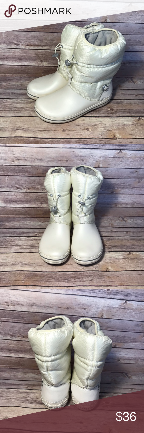 8d685f005eec51 CROC Winter Boots. Excellent condition. Warm   cozy. Keeps your feet dry.  Adjustable strap. CROCS Shoes Winter   Rain Boots