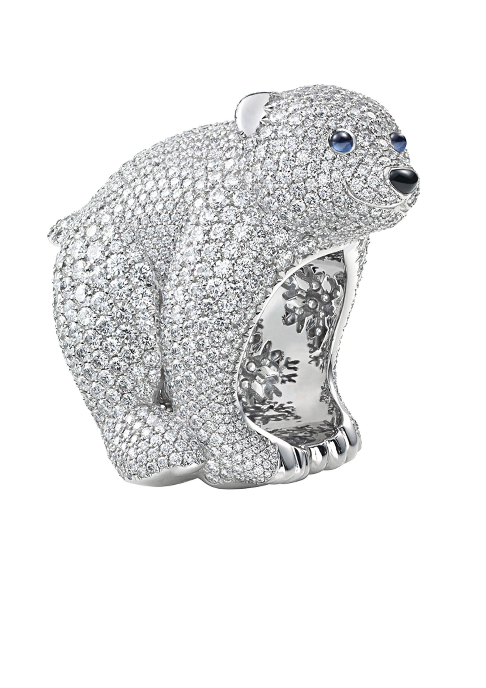 necklace sterling brown yellow diamond polar sapphires polky collection products silver bear pendant white animal blue gold and diamonds