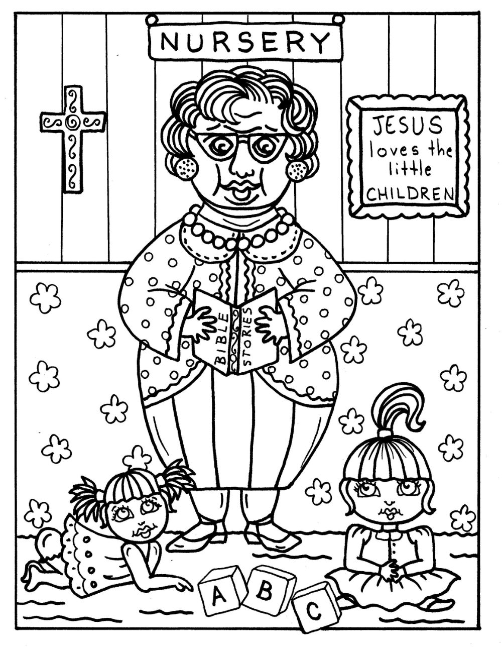 Digital Download Church ladies 15 pages to color, bible