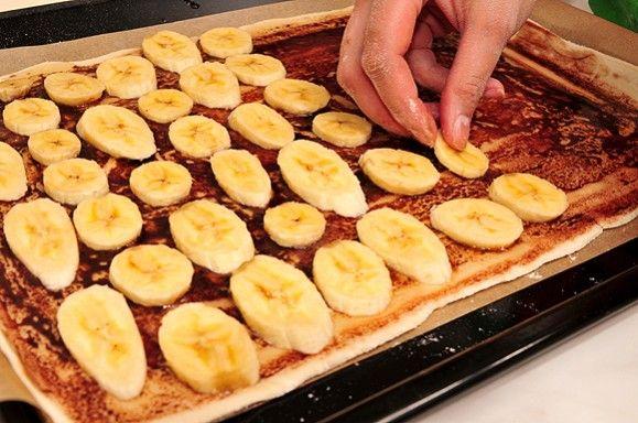 фото блюда Банановый пирог с густым заварным кремом