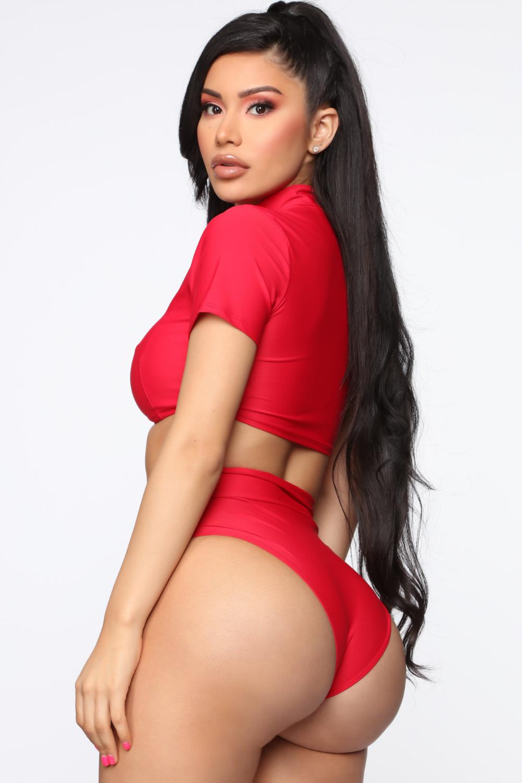 Red sports bikini