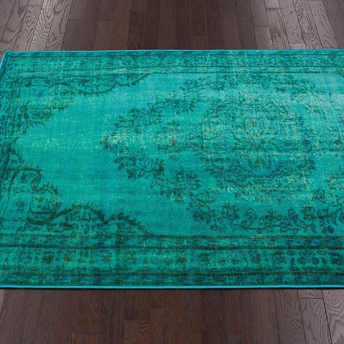 Nuloom Remade Distressed Overdyed Turquoise Area Rug: Turquoise Area Rug