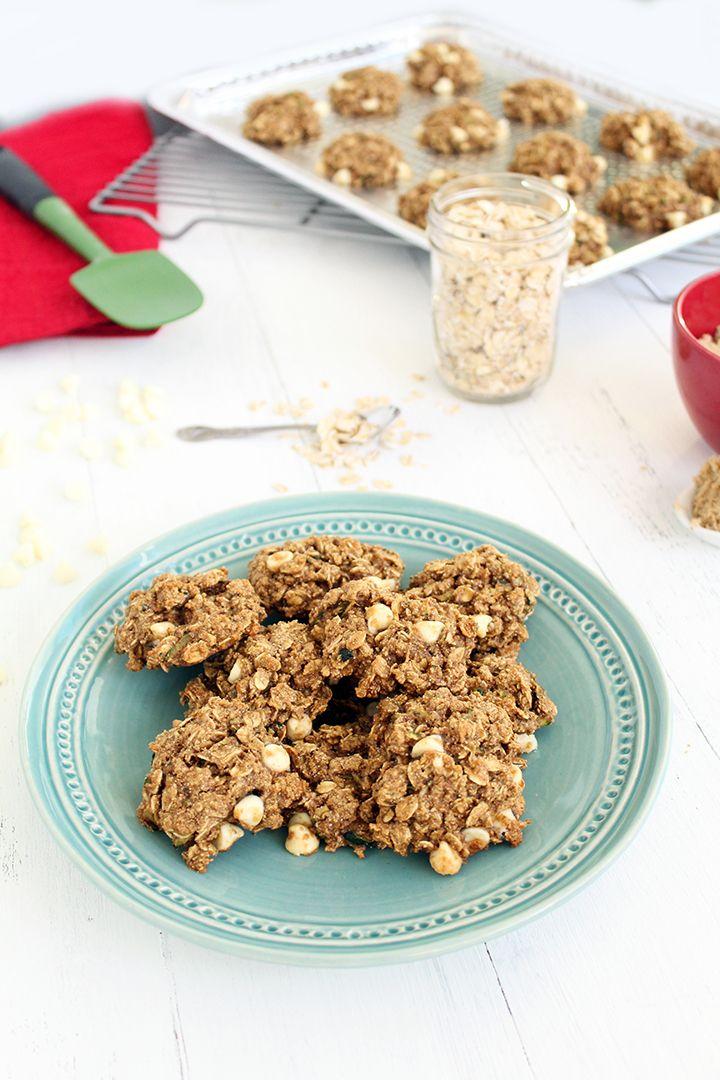 White Chocolate Zucchini-Oat Cookies (Gluten Free) #fbcookieswap