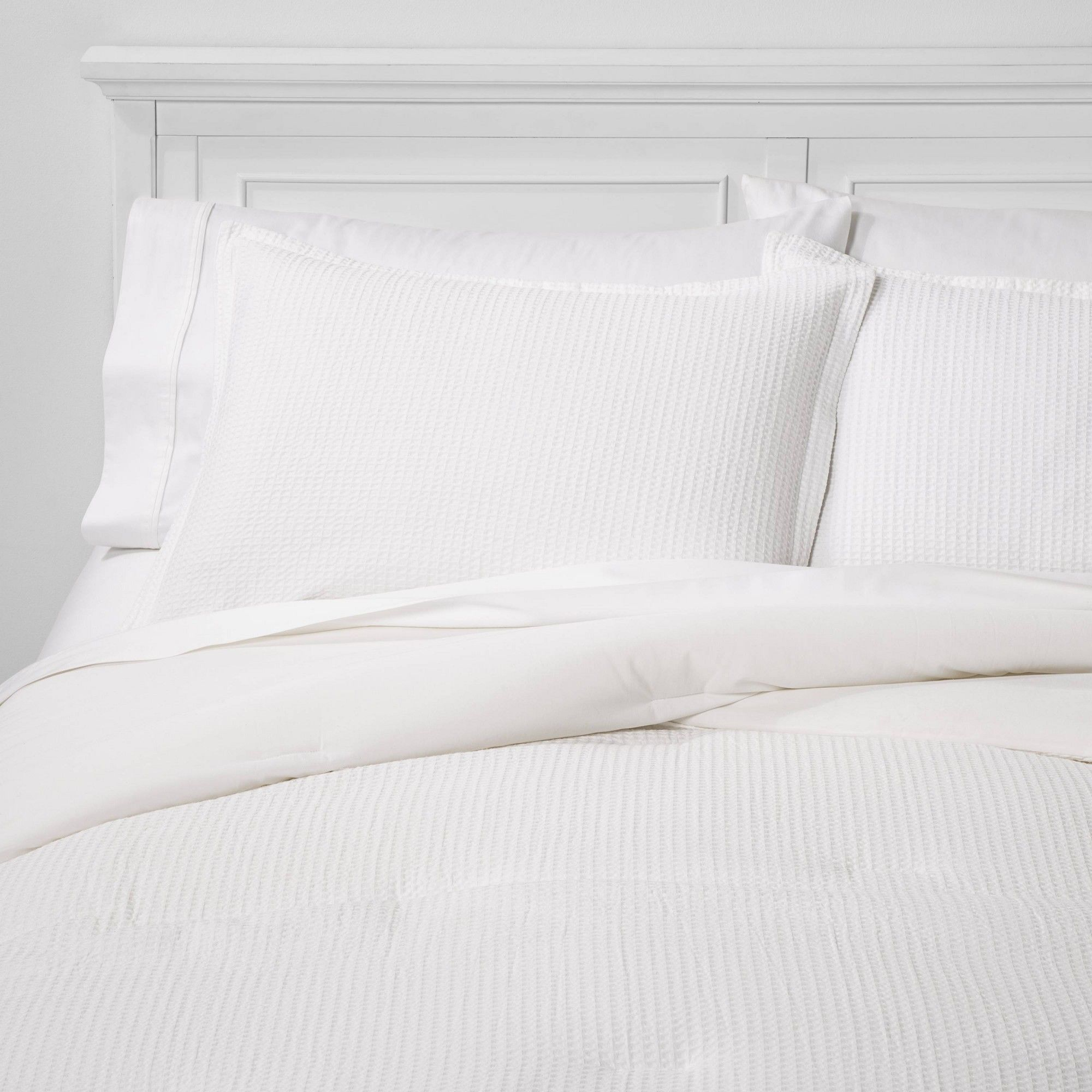 Twin Twin Xl Washed Waffle Weave Comforter Set White Threshold