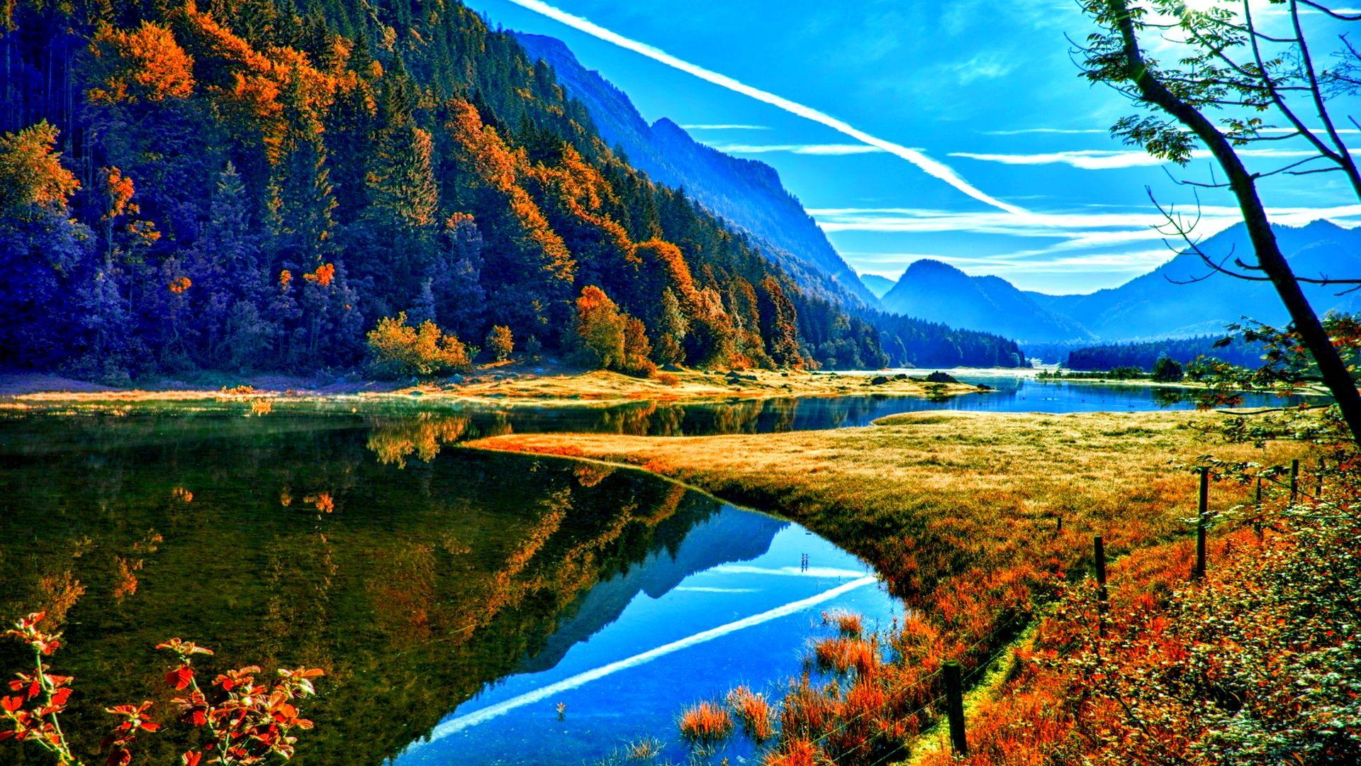 Hd wallpaper nature 1920x1080 - Amazing View Of Lake Autumn Hd Desktop Wallpaper Mobile Dual