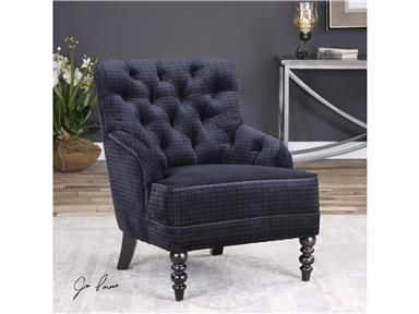 Best Rich Navy Blue Plaid Velvet Lounge Chair With Roll 400 x 300