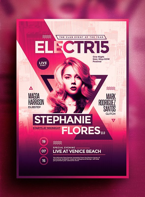 Electro FlyerPoster Vol  Photoshop Psd Template  Pts Designs