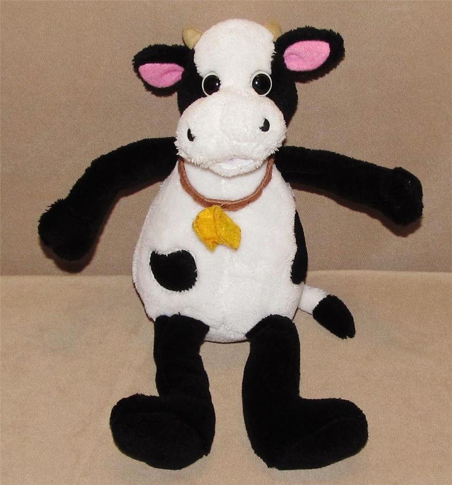 10 Old Navy White Black Cow Bull Plush Stuffed Animal Yellow Felt