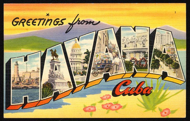 "Greetings From Havana Cuba Vintage Postcard 2/"" X 3/"" Fridge Magnet."