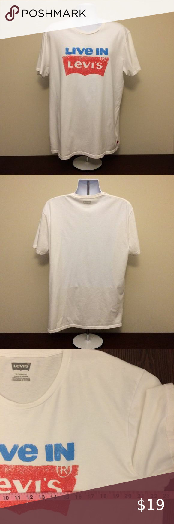 white and blue graphic tee mens