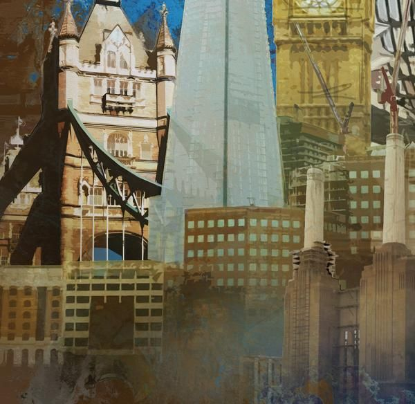 London Skies (Blue), Abstract Expressionist London Skyline, 2016, Limited Editions of 20 - Big Fat Arts | BFA Gallery | Czar Catstick - 5