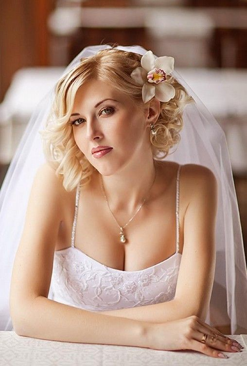 Wedding Hairstyles For Short Hair Curly Hairstyle With Veil