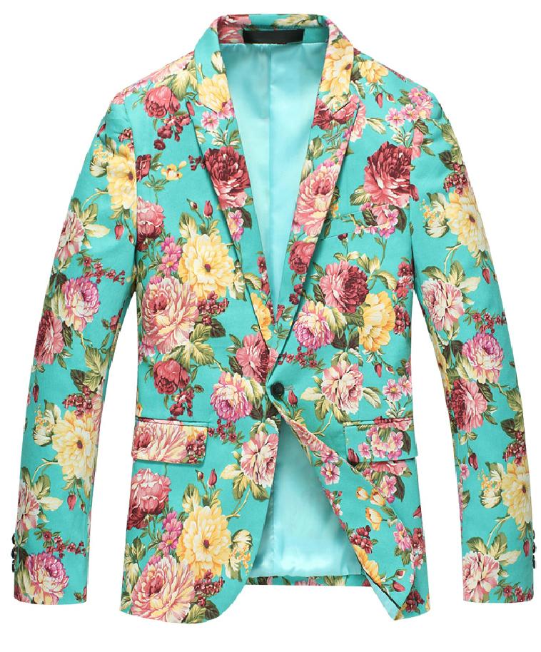 Fashionable Beige Floral Print Blazer | www.pilaeo.com #men's ...