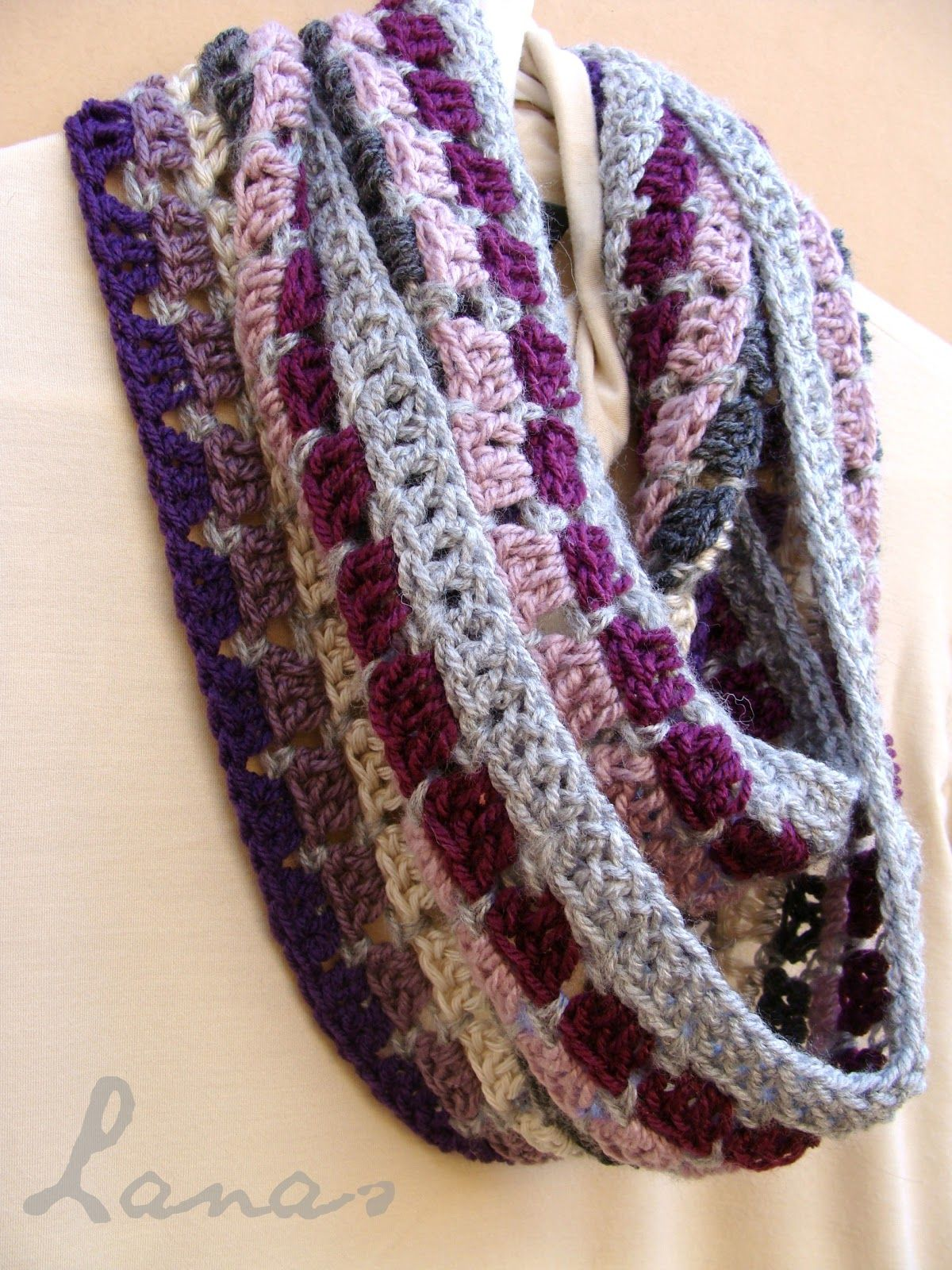 Lanas Hilos: MOSAIC INFINITY. Free crochet pattern. Infinity scarf ...