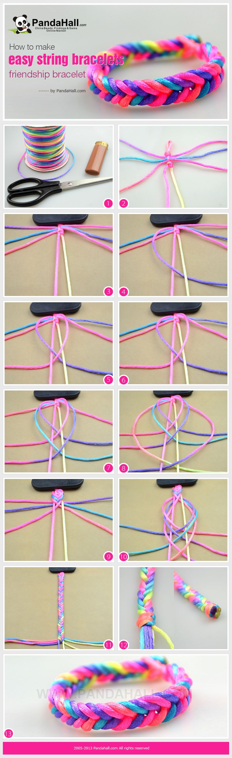 how to make a friendship bracelet with 4 strings