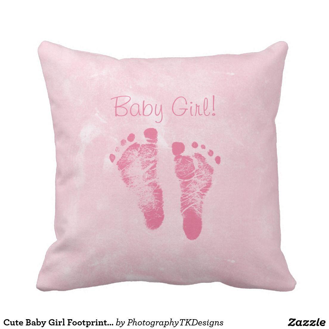 Cute Baby Girl Footprints Birth Announcement Throw Cushion