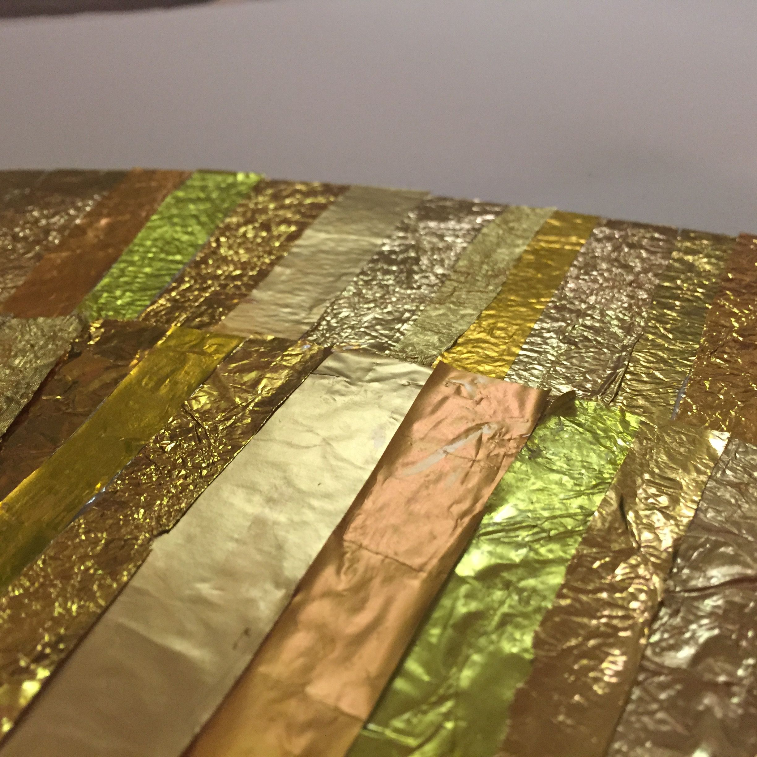 The making of GOLD wall art Foil close up. #recycling #art #artwork ...