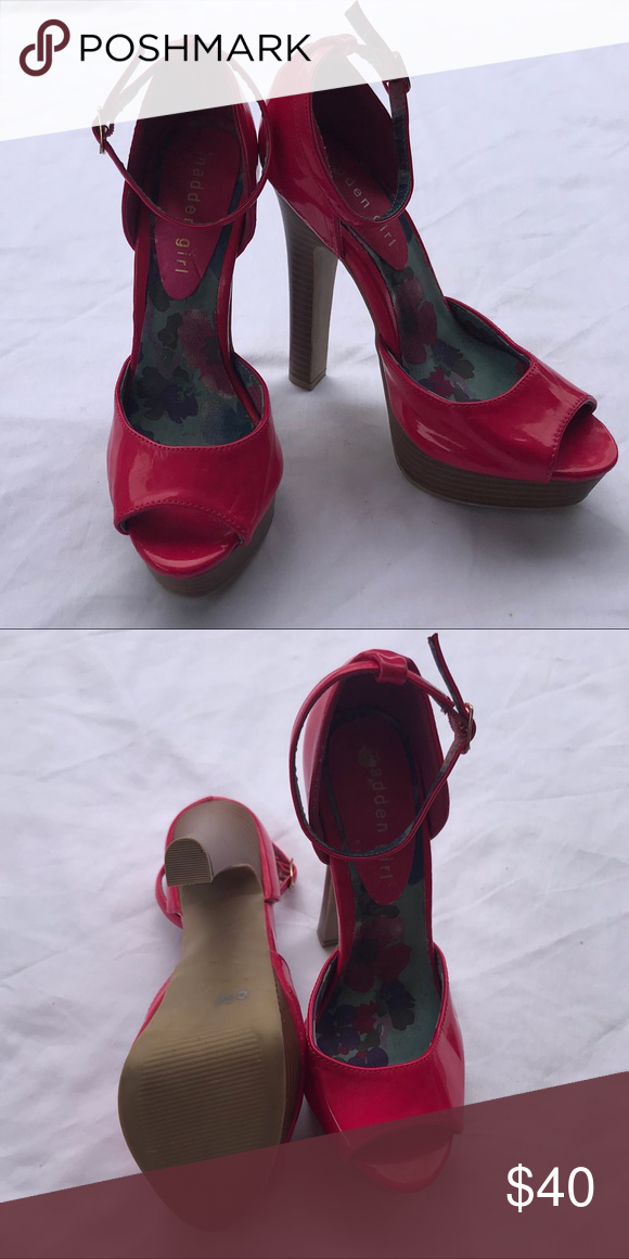 14b1c9bfcc7d Madden Girl Open Toe Heels w  ankle strap EUC Madden Girl size 6 Hot pink  patent leather 4 inch heel Ankle strap with gold buckle EUC—Worn once to  sorority ...
