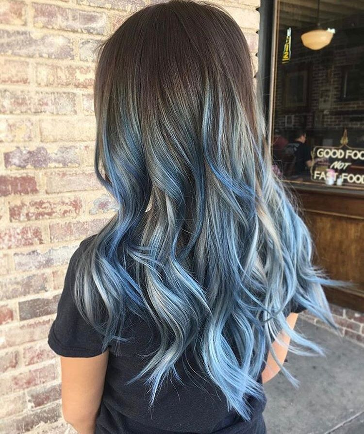 Blue Balayage Waves By Jaylenzanelli Using Igorapearlescene Light Blue Hair Blue Ombre Hair Blue Natural Hair