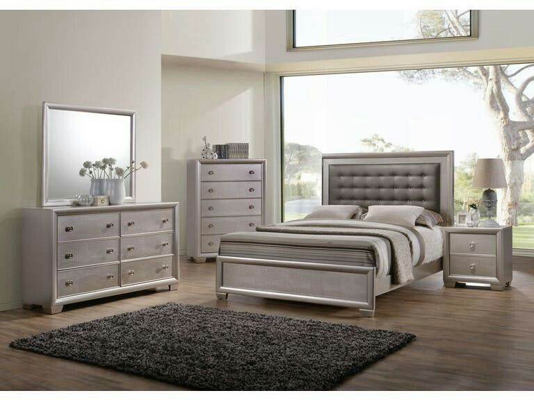 We Love This Goregous 6 Piece King Bedroom Set Featuring A Metallic  Champagne Finish. The Bed Features An Upholstered Headboard With Button  Tufting While ...