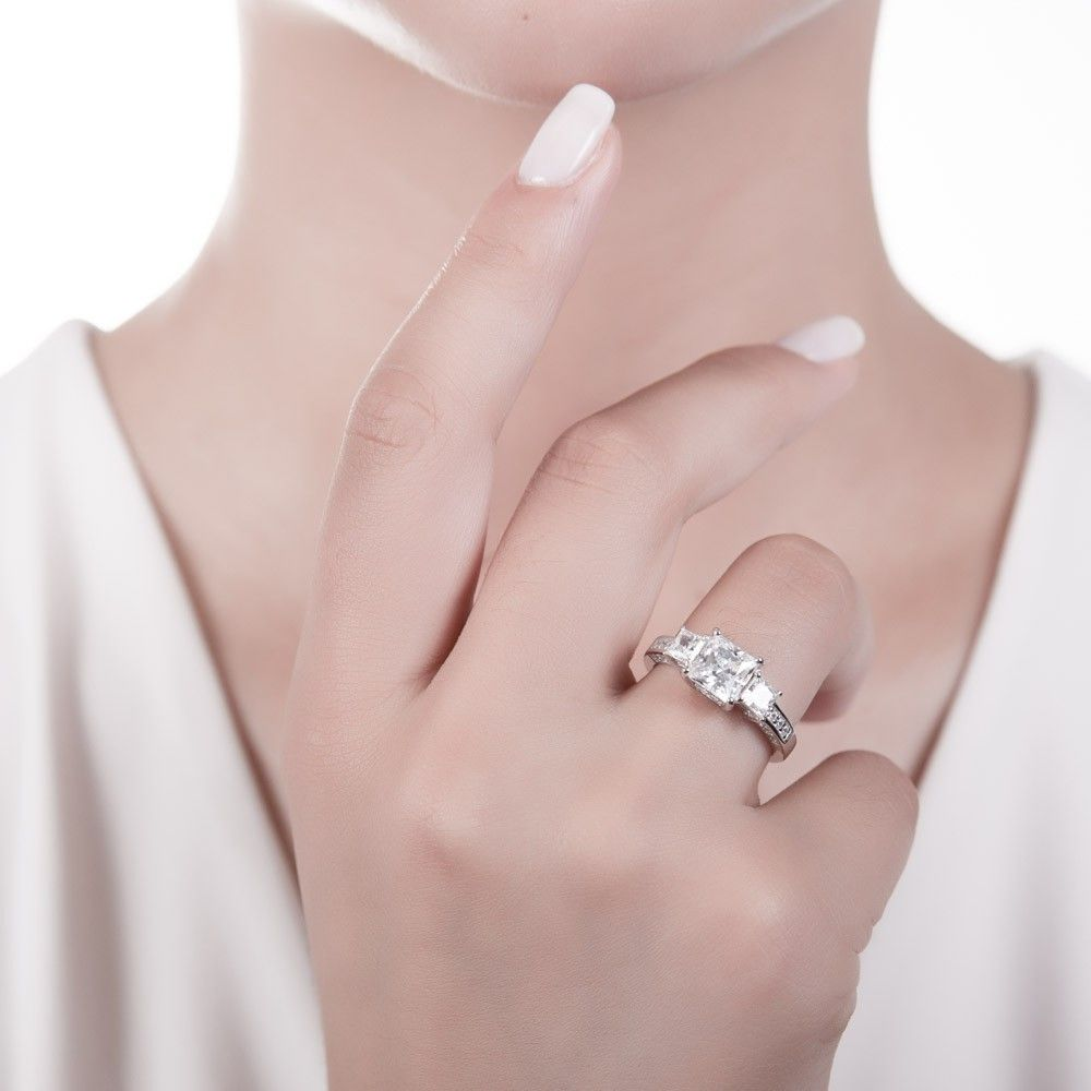 Sterling Silver Princess CZ 3-Stone Ring 3.13 CTW   Stone rings ...