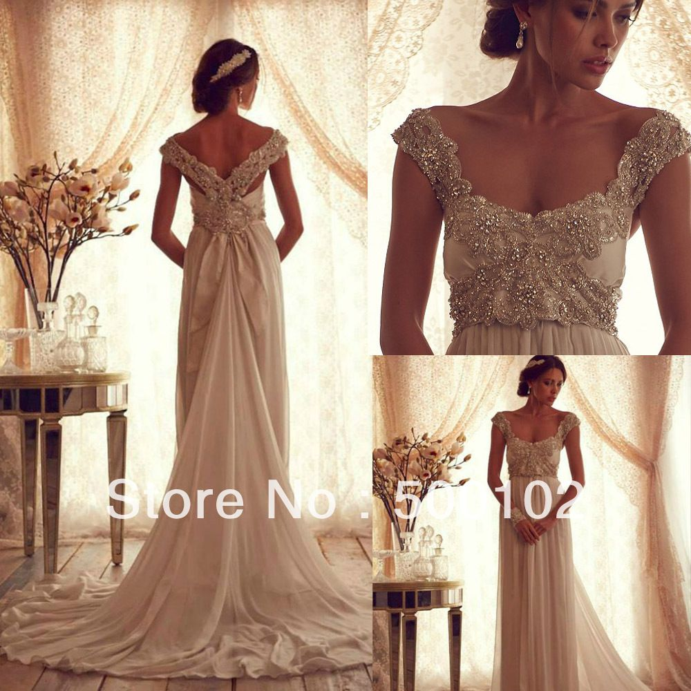 Anna Campbell Vintage Square Beaded Portrait Cap Sleeve Chiffon Wedding Dresses In From