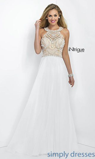 Blush Floor-Length Beaded White Gown | Pinterest | White pageant ...