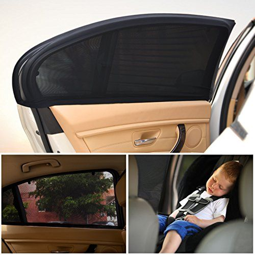 Pack of 2 Plain Black Kids Baby Children Car Window UV Protector Blind Sunshades
