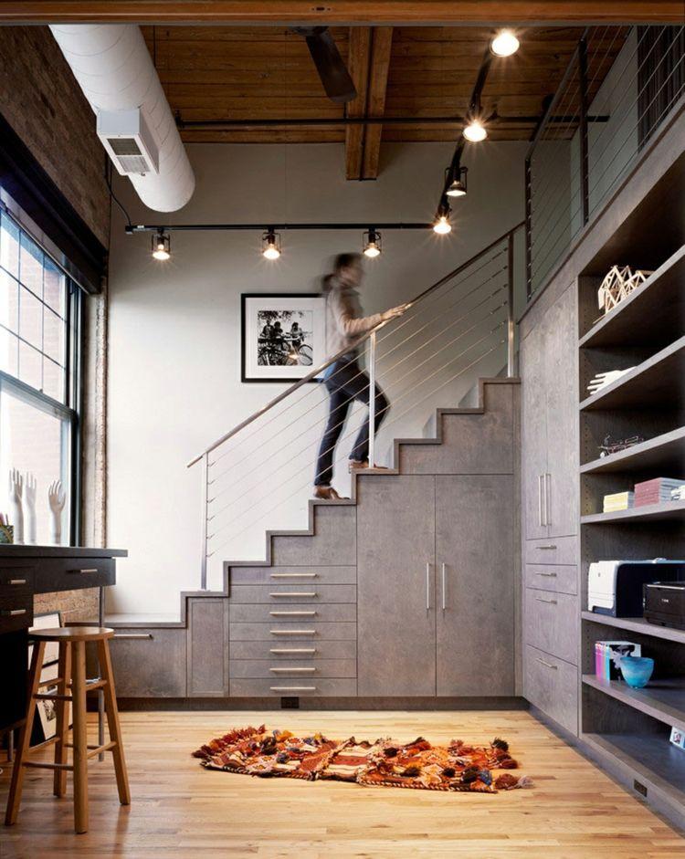 Tipps für stauraum und aufbewahrung modern grau schraenke treppe design