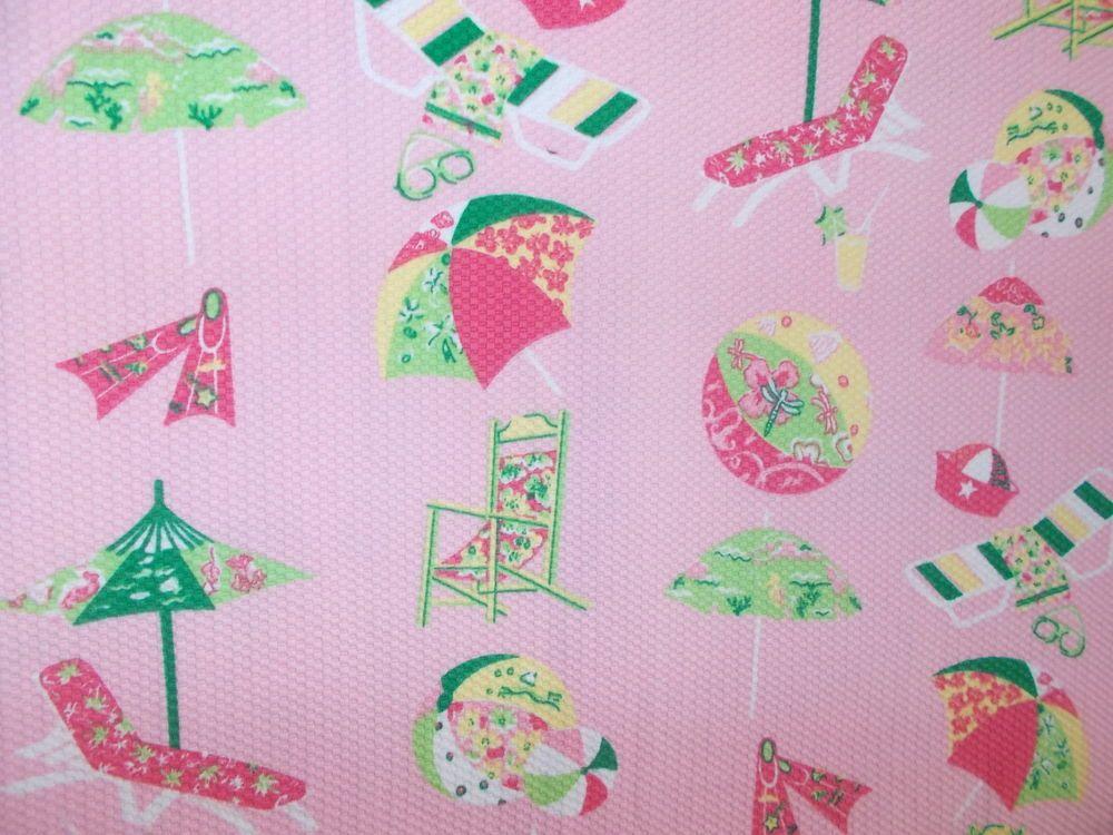 Pink Beach theme Umbrellas beach balls print sewing fabric pink cotton or blend