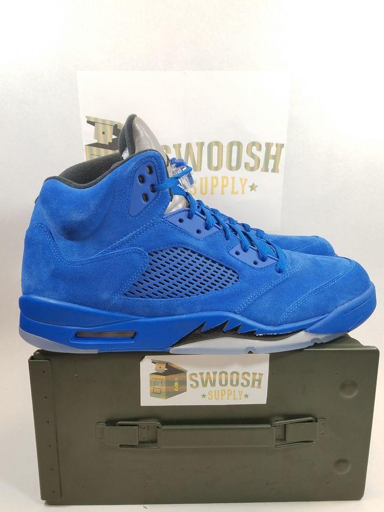 quality design 9f3bd c7ff1 Air Jordan 5 Retro Blue Suede Flight Suit GAME ROYAL BLA 136027 401 Nike  9.5  Nike  BasketballSneakers