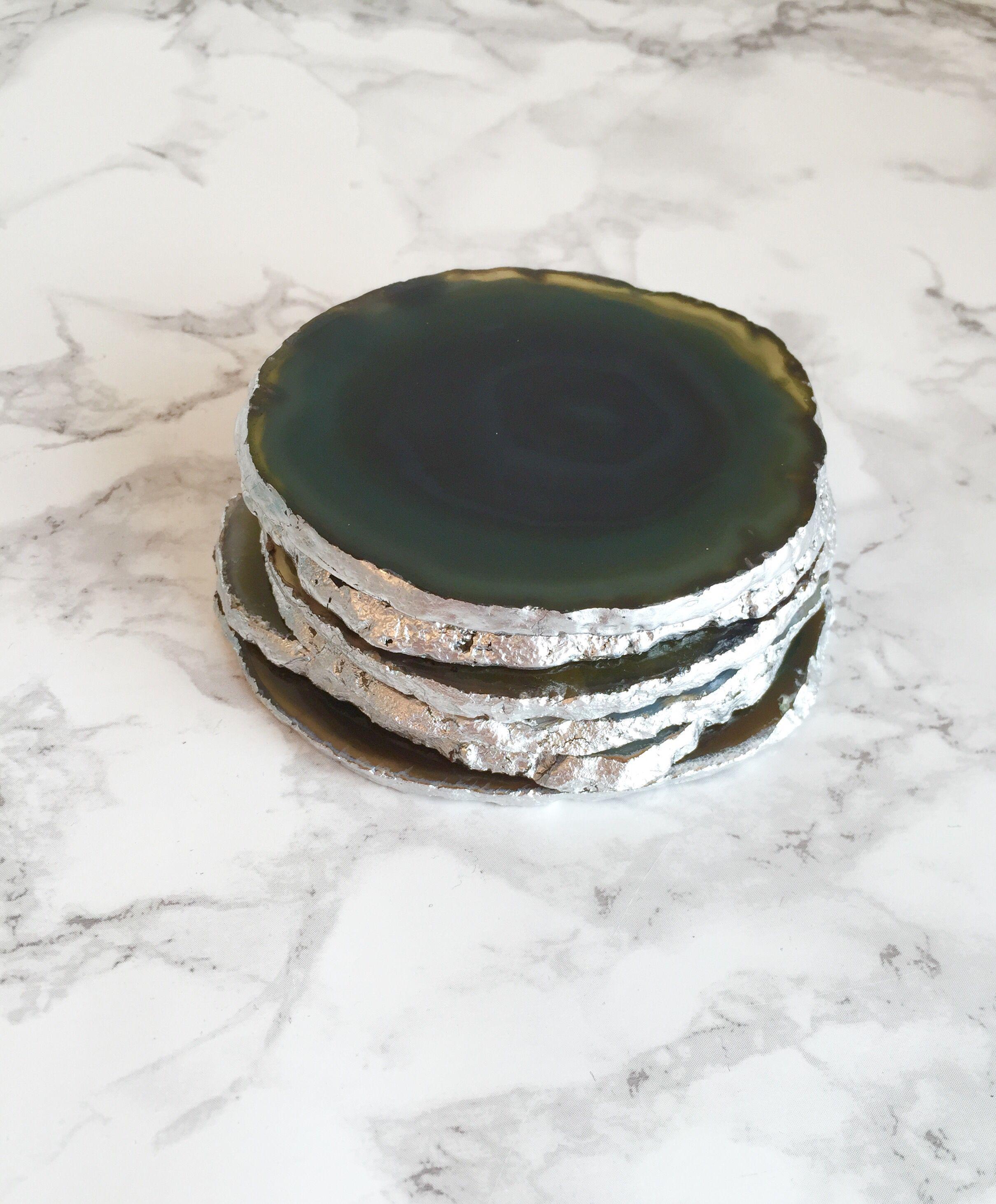 Green agate slice coasters silver leaf edging boho chic coffee