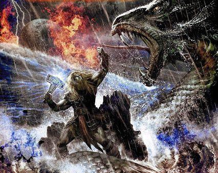 Image of Thor vs Jormungandr Norse gods