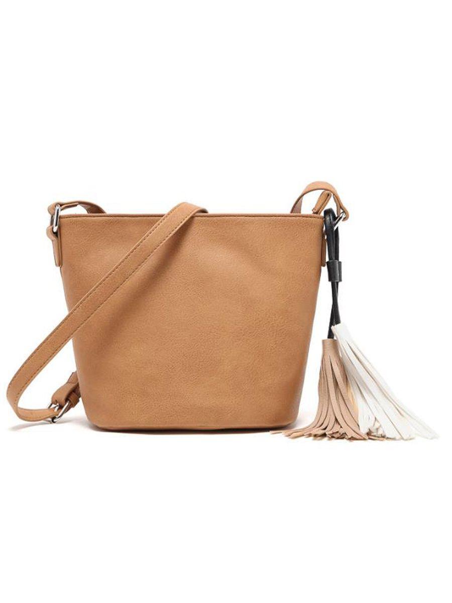 Chic Fashion Color Block Tassel Decoration Pu Plain Shoulder Bag