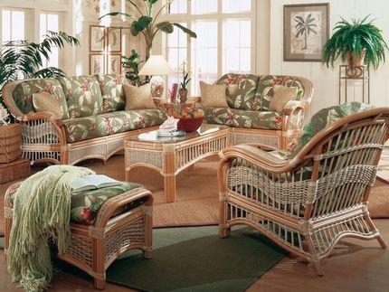 Seascape Rattan Furniture Set Sunroom, Wicker Furniture Indoor Set