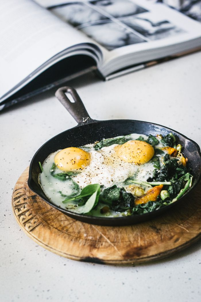 Photo of baked eggs with spinach, ricotta, leek, and chargrilled pepper | Top With Cinnam…