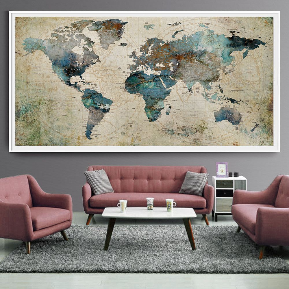 Extra large wall art push pin world map art print large wall decor extra large wall art push pin world map art print large wall decor abstract painting world map poster extra large art world map l35 gumiabroncs Gallery