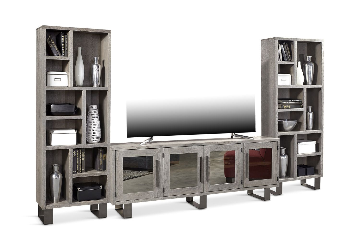 Cityscape Media Console With Piers Entertainment Wall Units