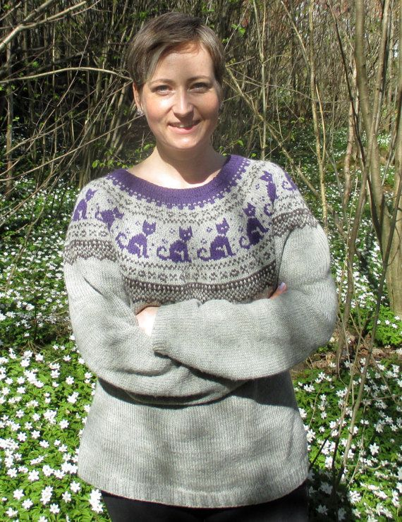 Cat Sweater Knitting Pattern Knit top down in by LupinesDesign ...