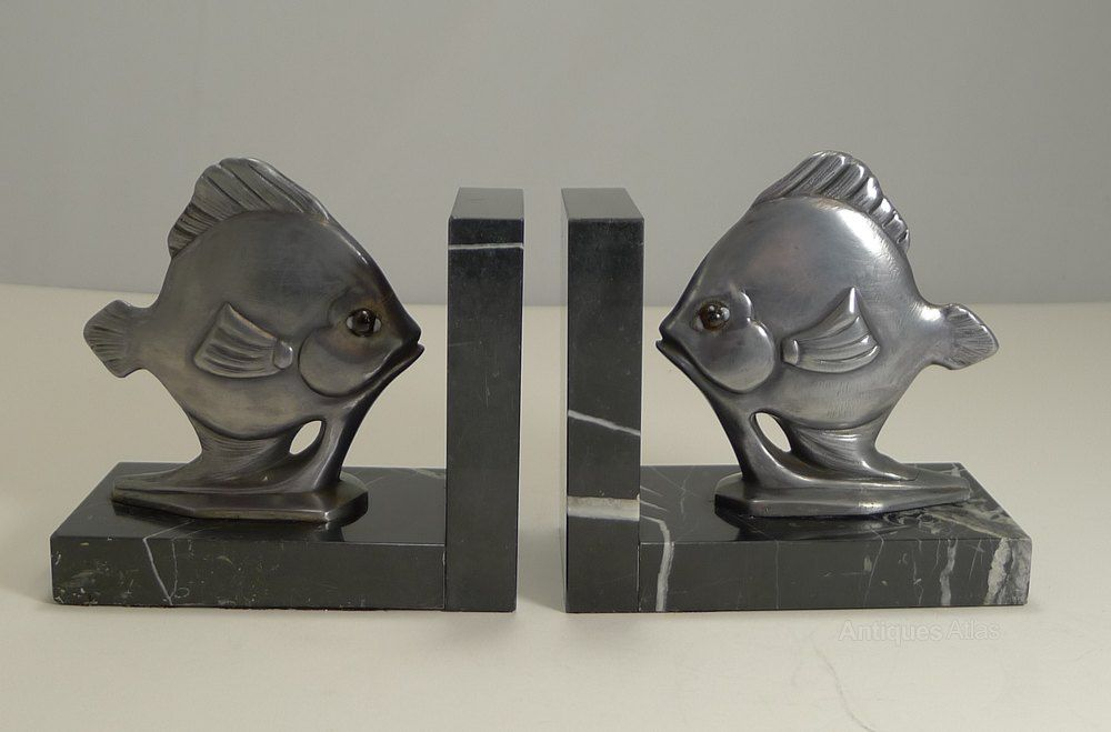 Antiques Atlas Pair Art Deco Fish Bookends C 1930 Bookends Gorillas Art Art Deco