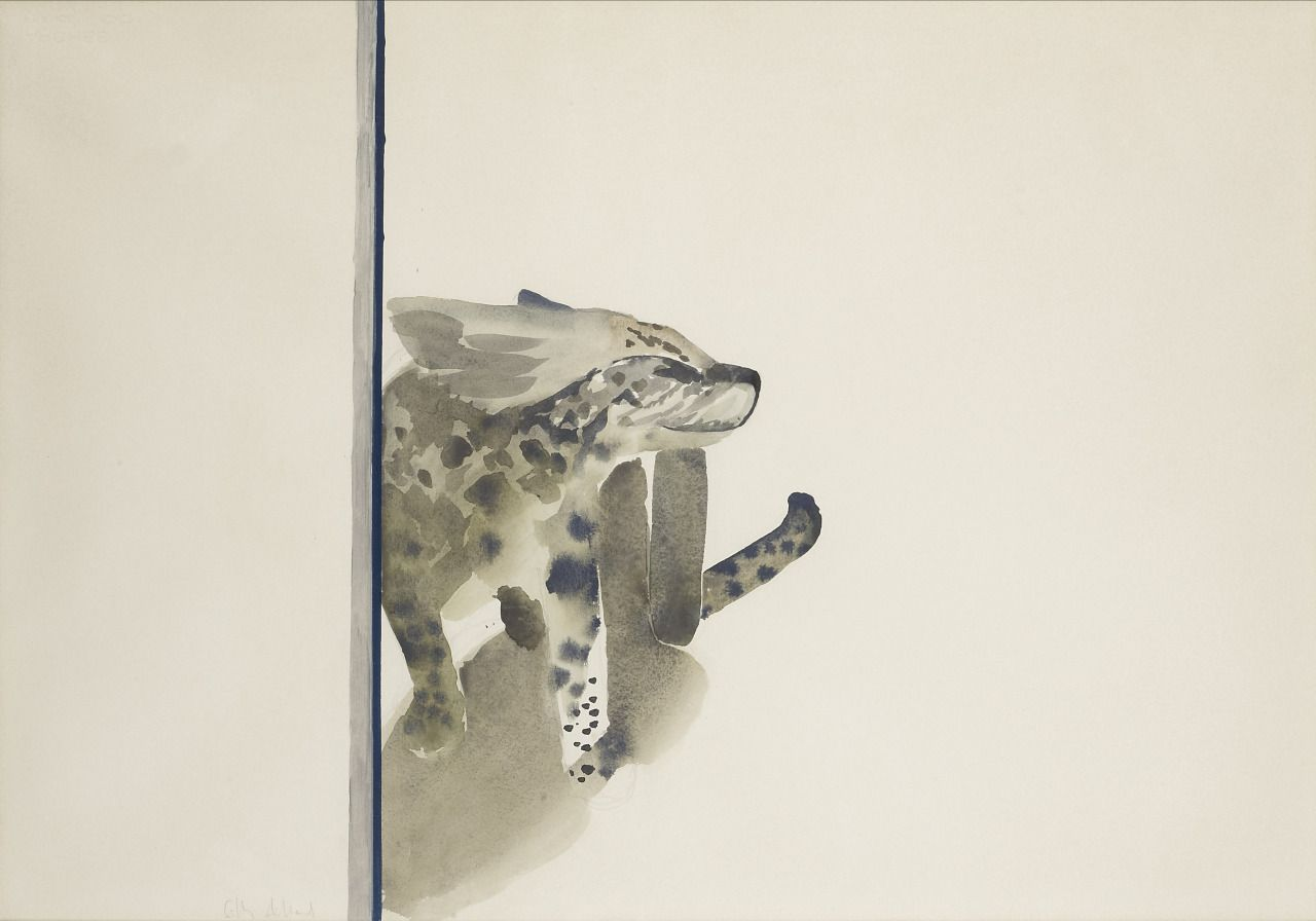 Gilles Aillaud (French, 1928-2005), Serval, c.1975. Watercolour and oil on…