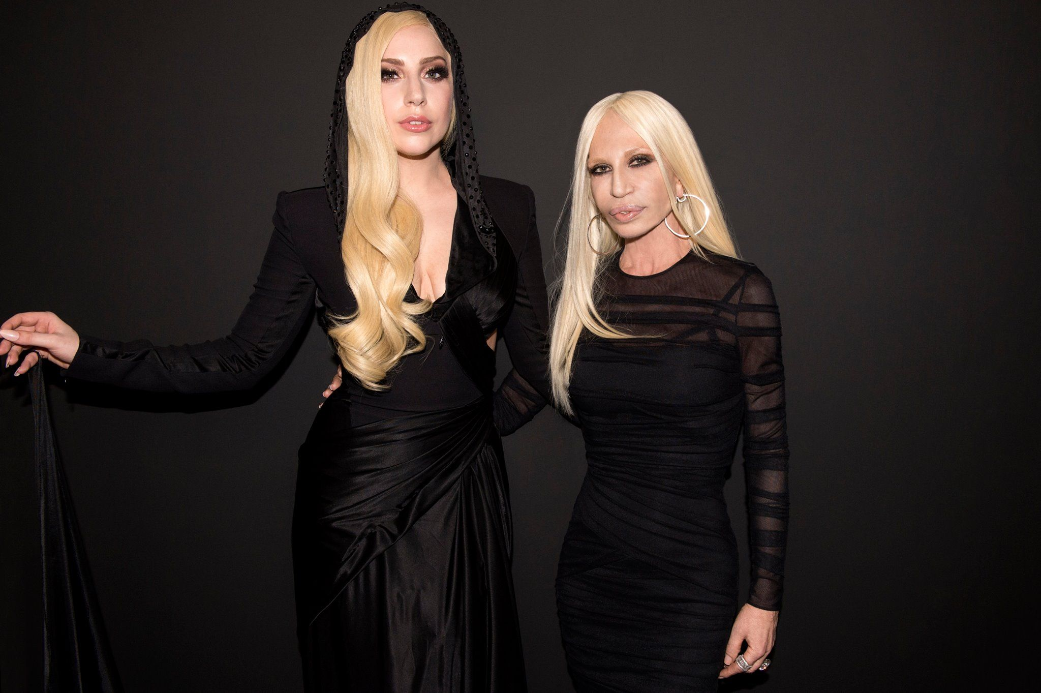 Glamorous duo Lady Gaga and Donatella Versace backstage at the Atelier Versace Spring 2014 show in Paris. #AtelierVersace #VersaceLovesGaga