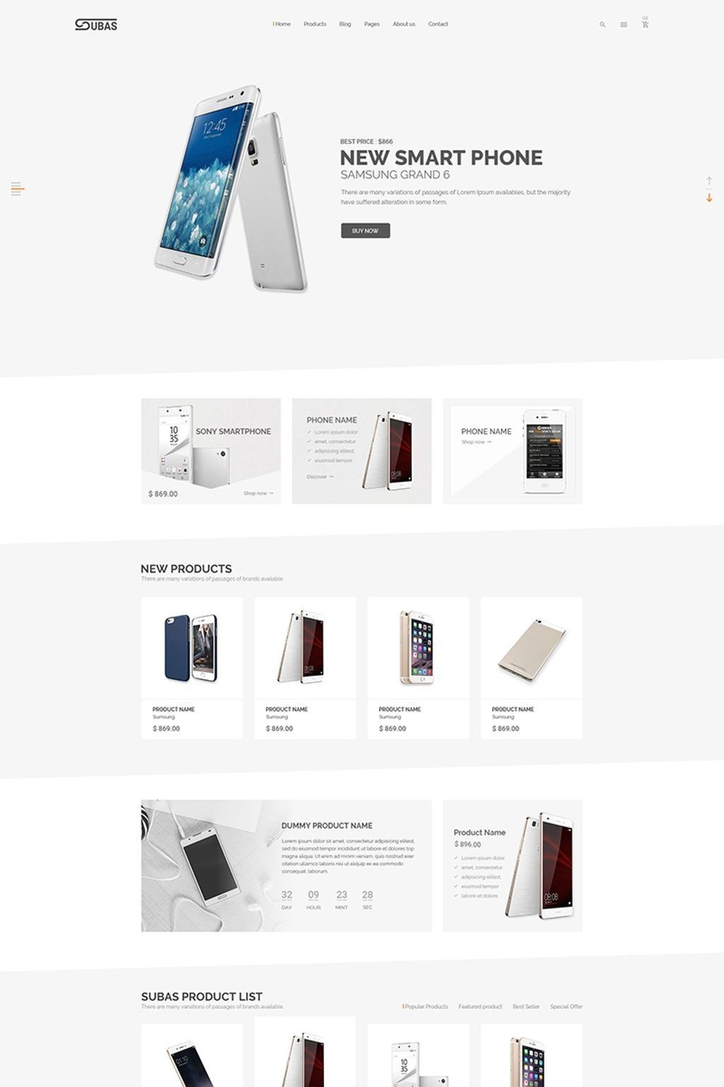 Subas - Electronics eCommerce Website Template #65543