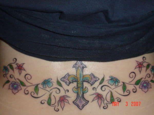 butterfly fleur de lis tattoo   fleur de lis cross on lower back tattoo