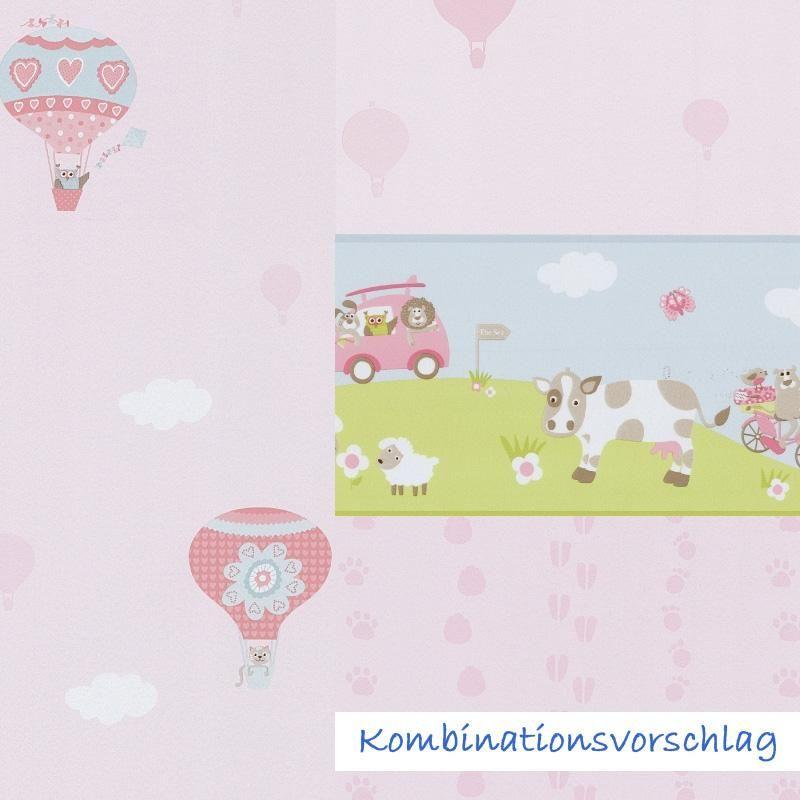 Süße Tapete in Rosa mit Ballons und Tieren von P+S International ...