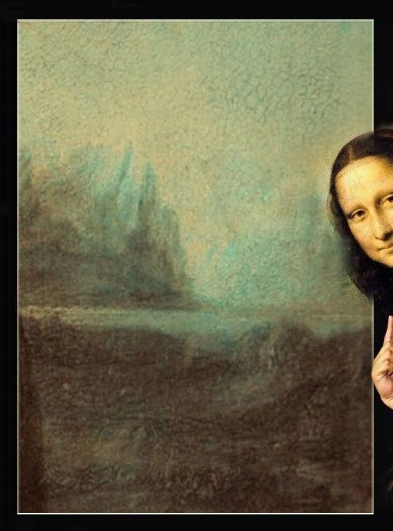 The Mona Lisa Hiding Monna Lisa La Gioconda Arte Divertente