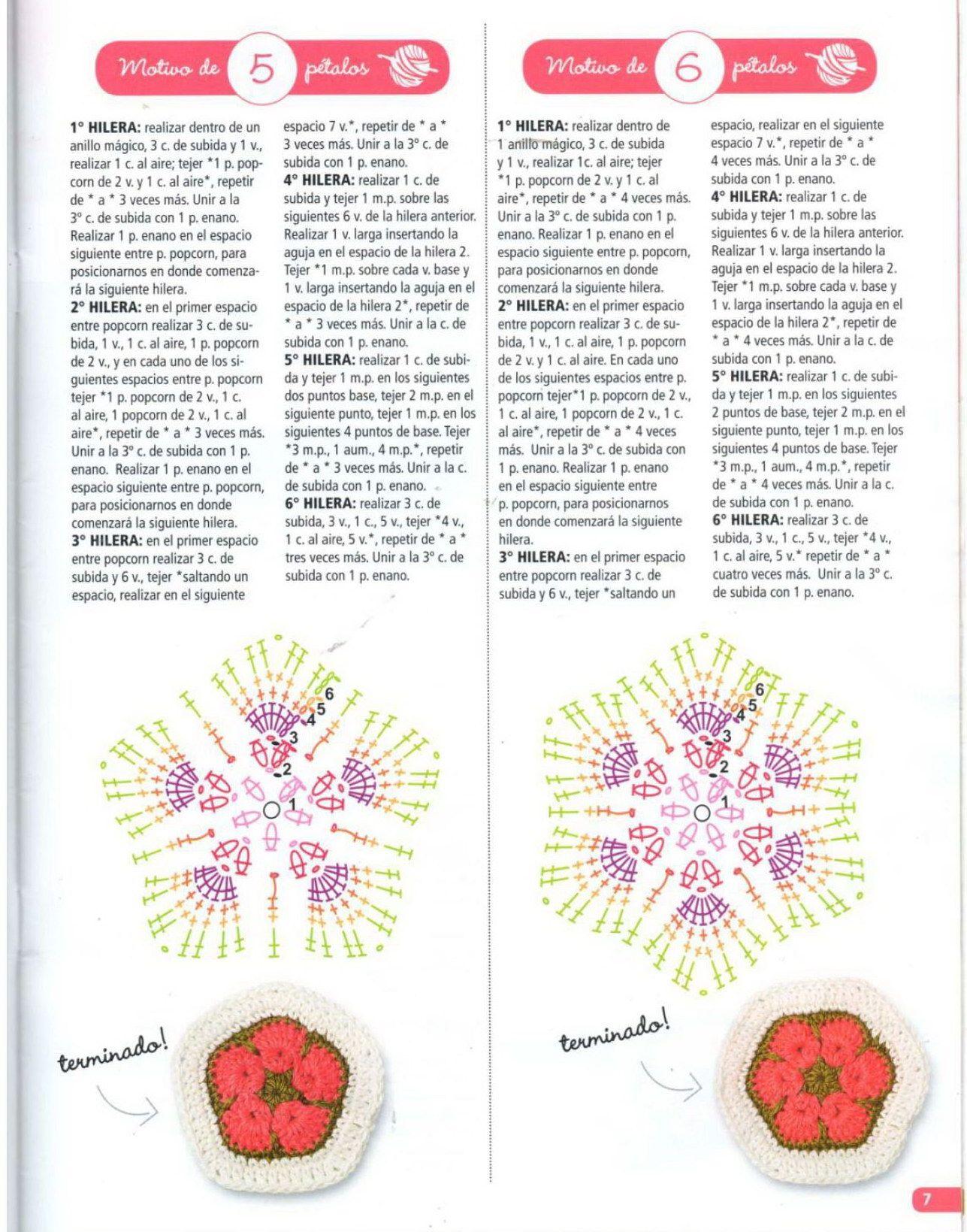 African Flower Pentagon & Hexagon Pattern (not in English) | [c ...