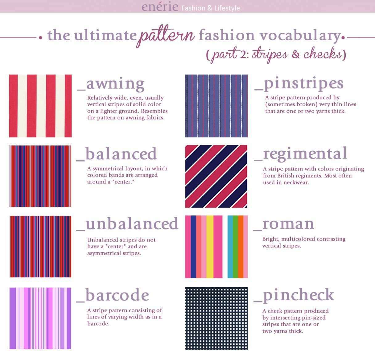 diy fashion pattern vocabulary part 2 infographic from enerie here also from enerie fashion. Black Bedroom Furniture Sets. Home Design Ideas