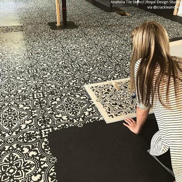 Stencil Your Decor Become An Insta Inspiration Tile Stencil Painting Tile Floors Painting Tile