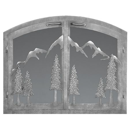Mountain Arched Masonry Fireplace Doors Custom Fireplace Fireplace Glass Doors Fireplace Doors
